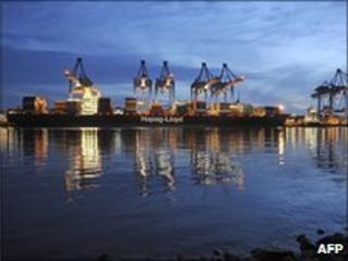 Container ship of German shipping company Hapag-Lloyd