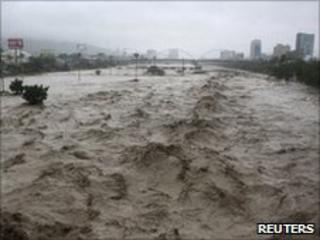 River raging though Monterrey