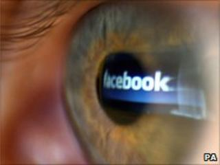 File pic of reflected facebook logo