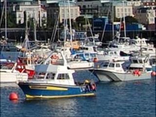 Boats in Guernsey's St Peter Port harbour