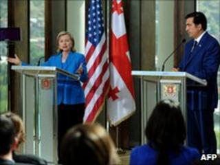 Hillary Clinton and Mikhail Saakashvili