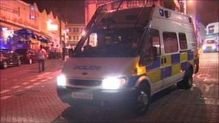 Police van in Newquay