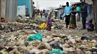 Street in Nairobi's Mukuru-kwa-Njenga slum