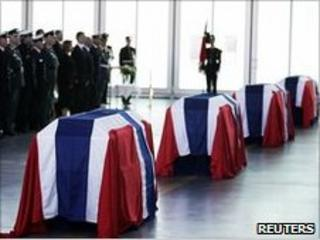 Coffins of four Norwegian soldiers killed in Afghanistan