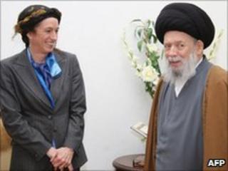 Frances Guy with late Ayatollah Fadlallah in Beirut (November 2008)