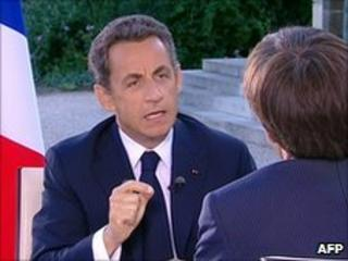 Nicolas Sarkozy interviewed on French TV channel France 2