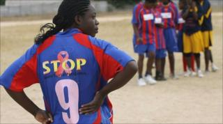 Young women with HIV in Zimbabwe playing football