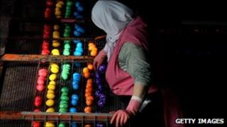 A coloured egg factory in Germany