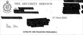 Letter from MI5 to the Home Office about Martin Mubanga