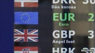 Advertised exchange rates at a bureau de change in Hungary