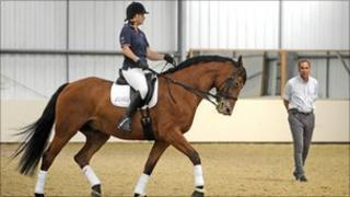 Paralympian Jo Pitt riding at Kingston Maurward College in Dorchester