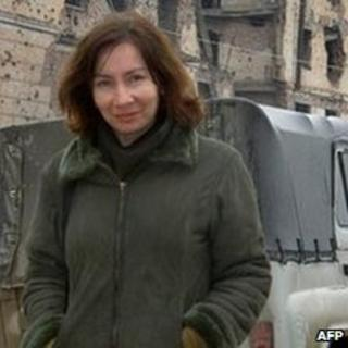 Natalia Estemirova in the Chechen capital Grozny (file photo September 2004)
