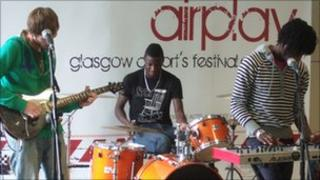 Our Future Glory playing at Glasgow airport