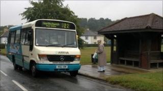 Elderly lady getting on bus