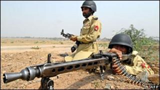 Pakistani troops in the Khyber tribal agency