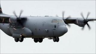 RAF Hercules transport plane