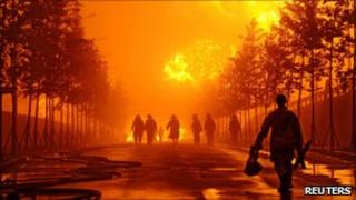 Firefighters at pipeline fire, Dalian, China - 17 July 2010