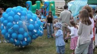 Balloons prior to being launched - image courtesy of Wrington Village website