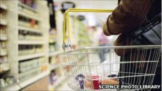 A woman holding a shopping basket (copyright: Science Photo library)