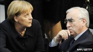 Angela Merkel with Theo Waigel