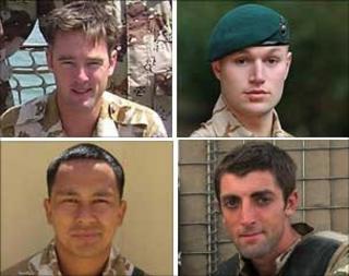 Maj James Joshua Bowman, Marine Matthew Harrison, Cpl Arjun Purja Pun, Lt Neal Turkington