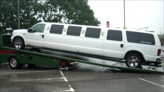 The limousine being towed away in Llanelli