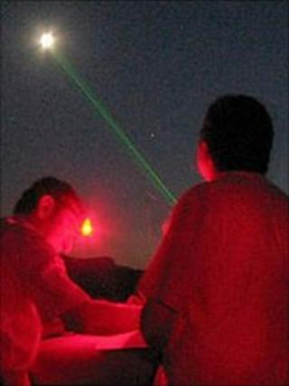 A beam from a laser pen