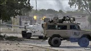African Union tank in Mogadishu (file photo)