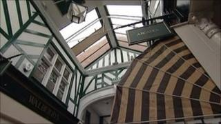 Glass roof of the Bedford shopping arcade