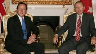 Turkish Prime Minister Recep Tayyip Erdogan with British counterpart David Cameron.