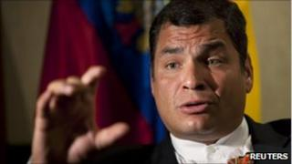 Rafael Correa in file photo from 7 July