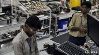 Indian workers at factory in Bangalore
