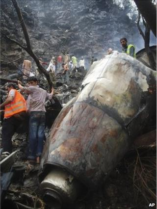 Wreckage of an air crash near Islamabad, Pakistan, on 28 July, 2010