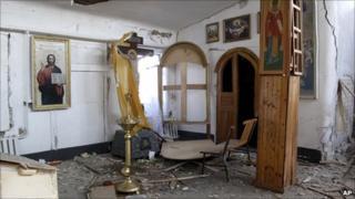 Blast damage in church