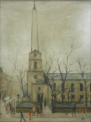 A photograph of the St Luke's Church print