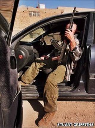 A private security guard in Baghdad