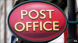 A post office sign
