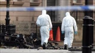 Forensic experts at bomb scene