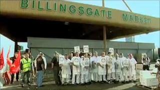 Demonstrators at Billingsgate Market