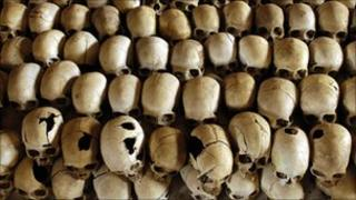 Skulls of genocide victims in Rwanda