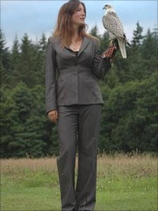 Layla Bennett and Monty the falcon
