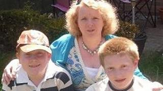 Rosalyn McCrohon with her sons Barnaby (left) and Zak