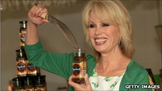 Actress Joanna Lumley poses for photographs as she attends a photocall to launch new chutney