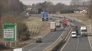 A14 in Suffolk
