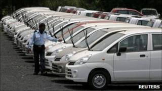 Parked cars at the Maruti Suzuki's stockyard on the outskirts of the western Indian city of western Indian city of Ahmedabad