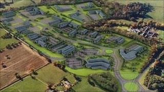 Artist's impression of the new Warren Hall Business Park