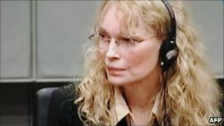 US actress Mia Farrow testifying before the Special Court for Sierra Leone in the Hague, August 9, 2010