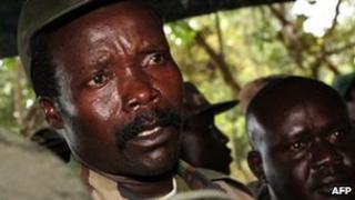 LRA leader Joseph Kony (left) in a photo taken in southern Sudan in 2006