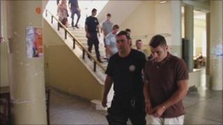 The men accused of attacking Robert Hughes in Crete