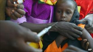 Child in Chad being vaccinated
